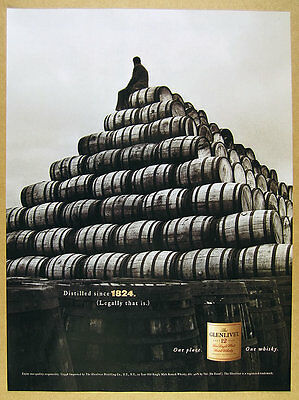 1999 Glenlivet Single Malt Scotch stack of whisky barrels photo vintage print Ad
