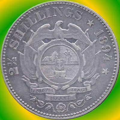 1894 South Africa 2 1/2 Shilling Silver Coin (14.138 Grams .925 Silver)