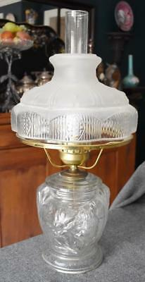 Farmhouse Chic Floral Motif Clear Frosted Glass Pattern Shade Converted Oil Lamp