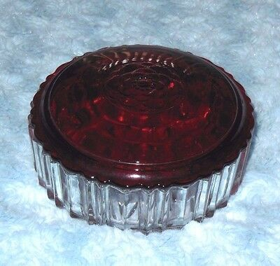 Vintage Anchor Hocking Powder Puff Crystal Vanity Box with Royal Ruby Lid EUC