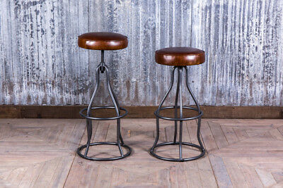 Leather And Metal Bar Stool Height-Adjustable Leather Bar Stool Poseur Stool