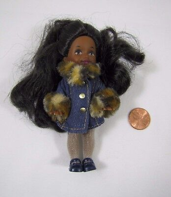 Barbie KELLY DOLL AFRICAN AMERICAN GIRL w/ DENIM JACKET TIGHTS SHOES Mattel Rare