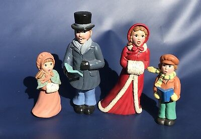 """Christmas Carol Family Figurines Mom Dad Son Daughter Singing Up To 9.5"""" Tall"""