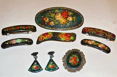 Vintage Hand Painted Russian Earring Brooch Hairclips Flowers Jewelry