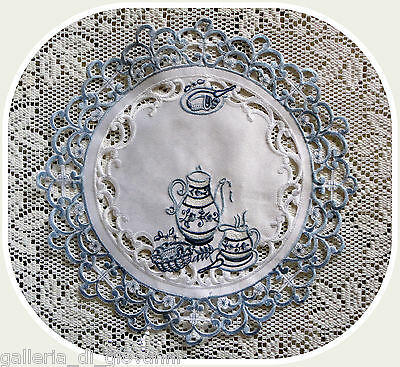 "TEATIME ~  Lace  Doily  11""  White & Blue Doilies Tea English  European"