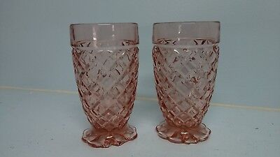 2 Hocking Depression Glass WATERFORD Waffle Footed Water Tumblers Glasses 10 oz