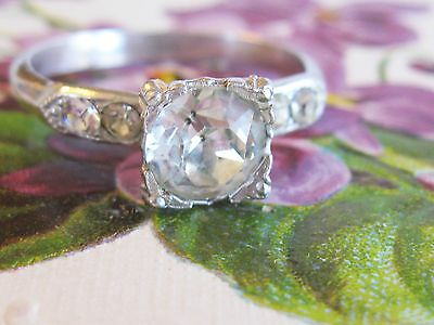 VINTAGE 1940's COSTUME JEWELRY PASTE OR RHINESTONE CLASSIC ENGAGEMENT STYLE RING