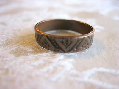 Very Old Elaborate Copper Band Ring Marked 10K European Medevial Dark Ages