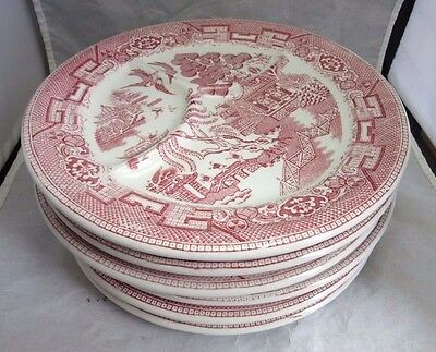 SIX Red transfer restaurant ware divided Wellsville dinner plates. Willow