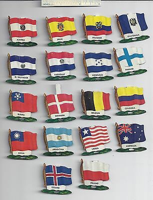 Lot of 18 Diff #5 1959 NABISCO NATIONAL FLAG Tin Tab Pins Shredded Wheat Cereal