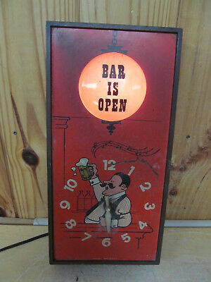 "Vintage Spartus USA Light-Up Bar Sign ""The Bar is Open"" Clock – Mancave"