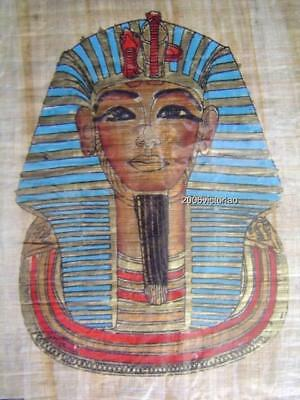New Egyptian Papyrus King Tutankhamun Mask Blue Red Gold