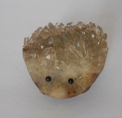 Gorgeous! carved  crystal gemstone hedgehog animal figure 134 gram