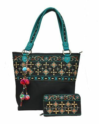 Montana West Ladies Tote Purse and Wallet Floral Embroidery Pompom Charm Black