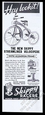 1934 Skippy Racers trike tricycle 'Streamlined Velocipede' vintage print ad