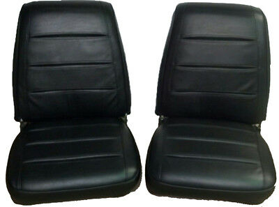 Seat Covers 1968 Dodge Charger Front Bucket Seats Upholstery Black Silver Pleats