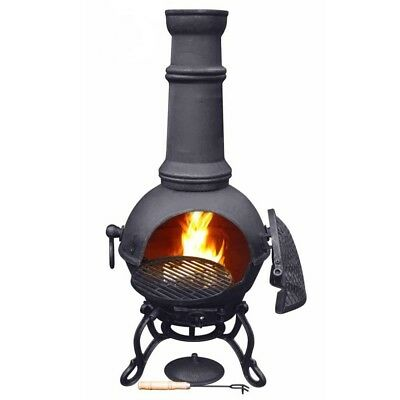 100% CAST IRON CHIMENEA LARGE 115cm BLACK WITH HINGED BBQ GRILL TOLEDO CHIMINEA