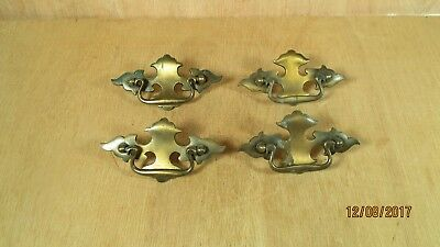 1970's - 80's Vintage 4 AB Antique Brass Plate Drawer Cabinet Pulls Restoration