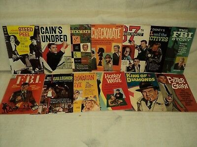 Dell Gold Key Spy Movie TV LOT Nice! Avengers, Peter Gunn, FBI! 13 Comics (9383)