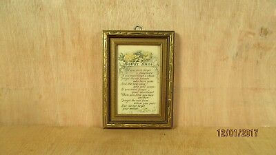 Vintage Mother Mine Framed Buzza Motto Poem Print Reinthal & Newman Ny US USA