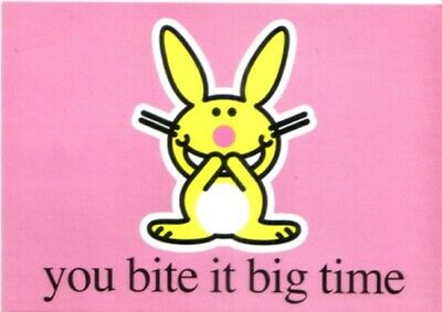 It's Happy Bunny You Bite It Big Time Glossy Art Postcard MINT UNUSED