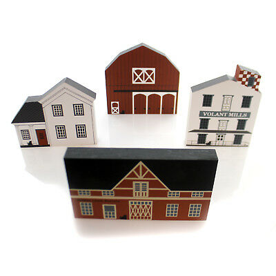 Cats Meow Village FALL SERIES Wood Set / 4 Retired Fall Series