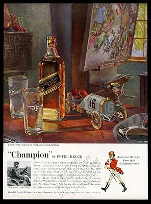 1958 Peter Helck art and photo Johnnie Walker Scotch whisky vintage print ad