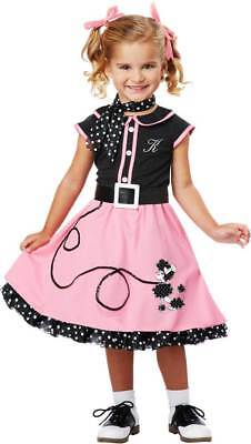 Cute 50's Hairspray Poodle Skirt Dress Grease Retro Outfit Girls Toddler Costume