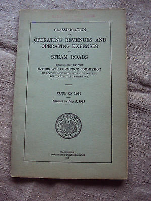 1914  Classification Operating Expenses Steam Roads