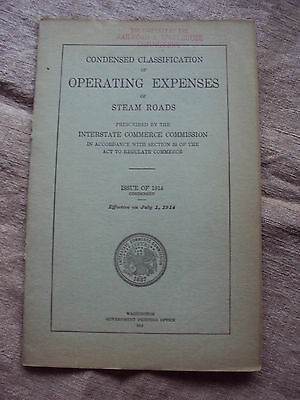1914 Condensed Classification Operating Expenses  Steam Roads