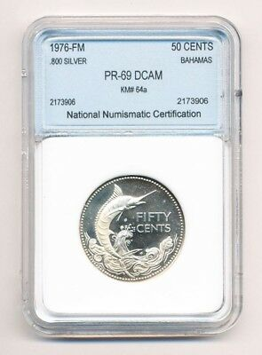 1976-FM Bahamas Fifty Cents .800 Silver .50C Exact Coin Shown - FREE Shipping
