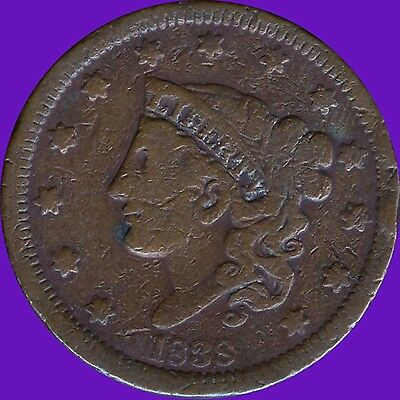 """1838 United States """"Coronet Head"""" 1 Cent Coin"""