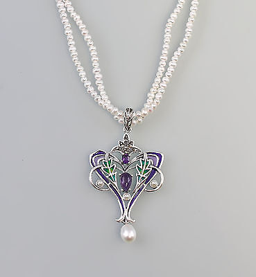 925er Silver Pearl necklace enamelled Art Nouveau Pendant Nouveau-Art 9927542