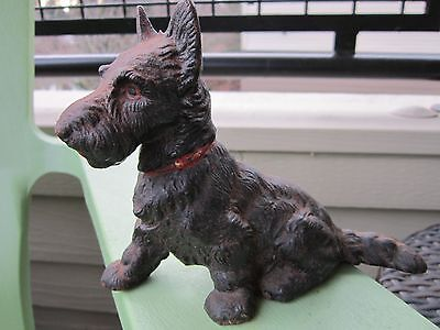 Antique Cast Iron Original Hubley Sitting Scottie Dog Art Statue Doorstop
