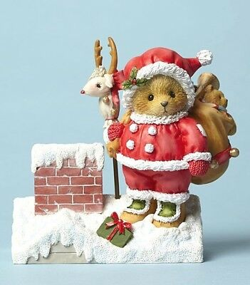 "Cherished Teddies ""santa Claus ~ Cheer Down Chimney"" 4047378  New  Free Shipping"
