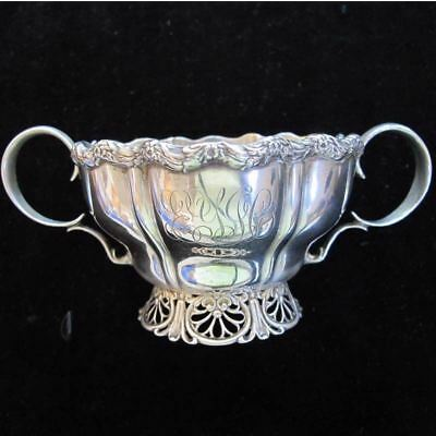 Whiting STERLING SILVER Handled Sugar Bowl with Pierced Base 155 grams