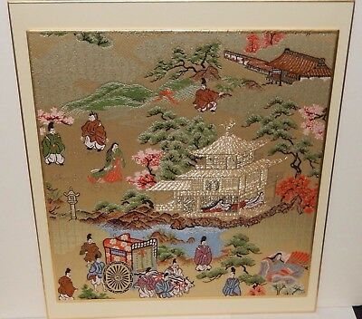 "Kyonishiki ""gion Jidau And Aoi Festivals"" Silk Embroidered Tapestry Unsigned"