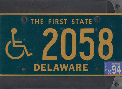 "DELAWARE 1994 license plate ""2058"" ***NATURAL***HANDICAPPED/DISABLED***"