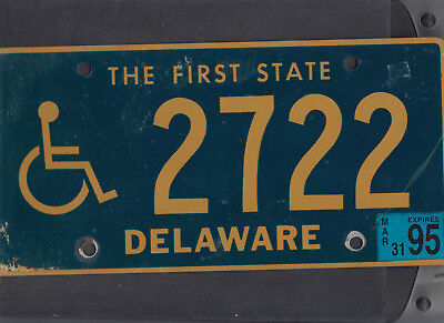 "DELAWARE 1995 license plate ""2722"" ***NATURAL***HANDICAPPED/DISABLED***"