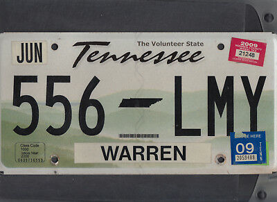"TENNESSEE passenger 2009 license plate ""556 LMY"" ***WARRN***"
