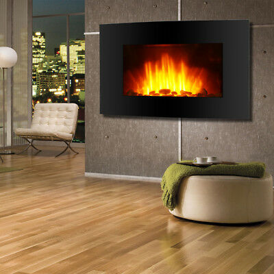 Wall Mounted Electric Fireplace Glass Heater Fire Remote Control LED Backlight