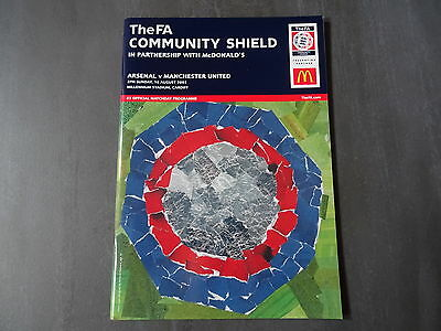 2003 FA Charity Shield Programme - Arsenal v Man United - 10th August 2003