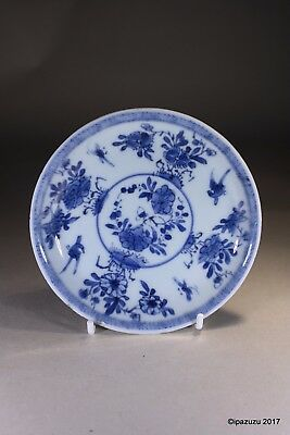 Antique Chinese Blue & White Tea Saucer Flowers and Birds Circa 1780s