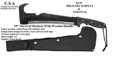 "19"" Full Tang Tactical Survival Fixed Blade Machete + Free Surv. Bracelet - New"