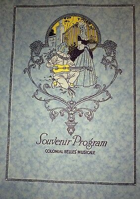 Souvenir Program Colonial Belles Musical  Cover Design Graphic Art 1923