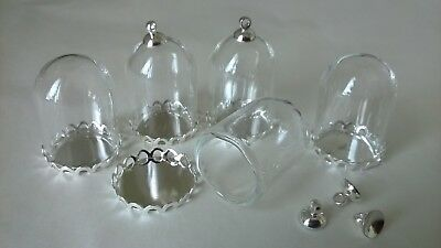 Glass Domes x 5 silver colour fittings (SO) DOLLS HOUSE MINIATURES (F5090)