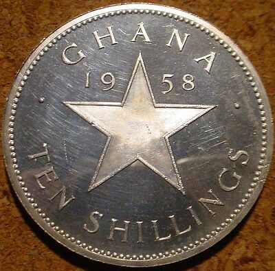Only 11.000 Minted Large Proof Silver Crown 1958 10 Shillings Ghana Africa**