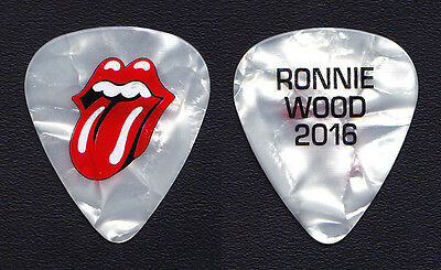 Rolling Stones Ronnie Wood White Pearl Guitar Pick - 2016 Desert Trip Concert