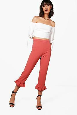 Boohoo Womens Hannah Crop & Frill Trouser Co-ord in Rose size 8