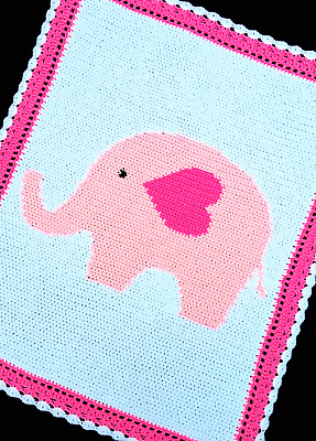 Crochet Patterns - BABY GIRL ELEPHANT Graph/Chart Afghan PATTERN
